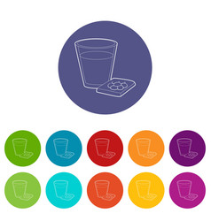 glass of water and pills icon outline style vector image
