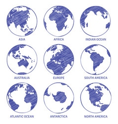 Globe sketch map world hand drawn earth vector