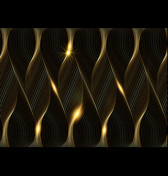 Gold design elements wave many glittering lines vector
