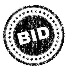 Grunge textured bid stamp seal vector
