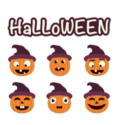 halloween set with pumpkins vector image