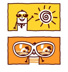 hand drawn cartoon characters - summer holidays vector image