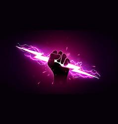 Hand holding pink lightning vector