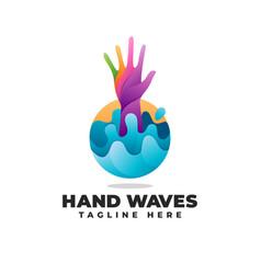 Hand waves gradient modern logo vector