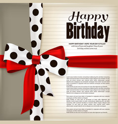 Happy birthday greeting card Red bow and ribbon vector image