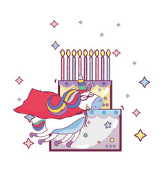 happy birthday unicorn cartoons vector image