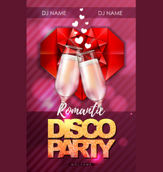 Happy valentines day disco party poster vector