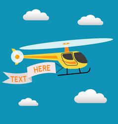 helicopter flying in sky with a banner for vector image