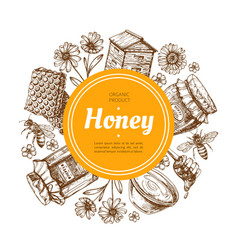 Honey label natural farm honey badge with bee and vector