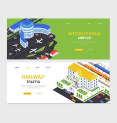 international airport and railway traffic vector image