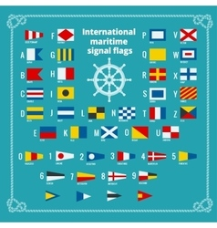 International maritime signal flags Sea alphabet vector image