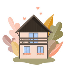 isolated cozy house and autumn forest vector image