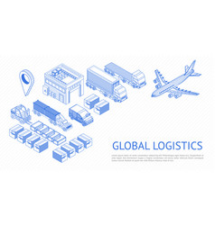 isometric set of logistics vector image
