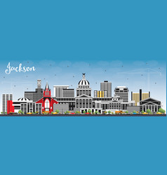 Jackson mississippi city skyline with gray vector