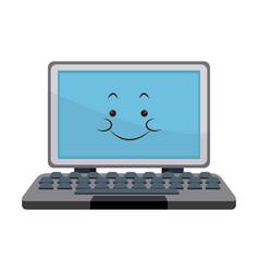 Kawaii laptop computer technology cartoon vector