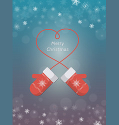 Knitted red mittens on winter background vector