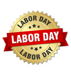 Labor day round isolated gold badge vector