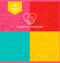 Line charity donation patterns vector
