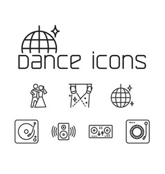 line dance icons set on white background vector image