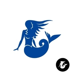 Mermaid silhouette logo blue young female vector