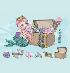 mermaid treasures sea travel clipart color vector image