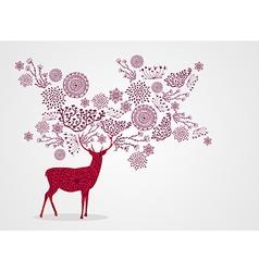 Merry Christmas vintage beautiful reindeer vector
