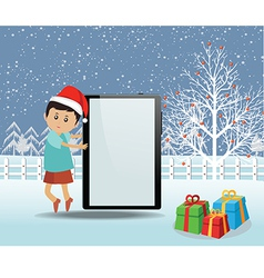 Merry christmas with happy kids and tablet vector image