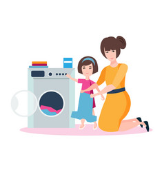 Mom and daughter are washing vector