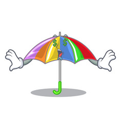 Money eye playing rain with umbrella rainbow vector