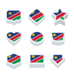 Namibia flags icons and button set nine styles vector