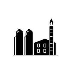 Natural gas plant silhouette icon in flat style vector