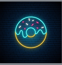 Neon donut sign bright glowing donut emblem on vector
