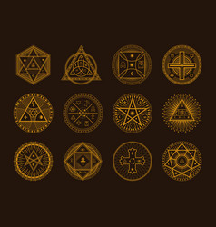 Occult sign alchemy and astrology symbol set vector