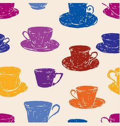 Pattern of the various teacups vector