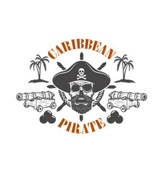 Pirate skull and cannons design element for vector