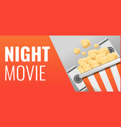 popcorn night movie concept banner cartoon style vector image