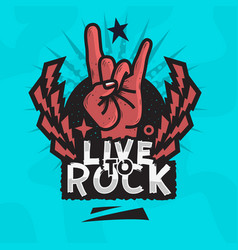 rock star live to rock design with devil vector image