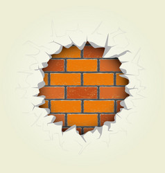 Round hole in the brick wall vector