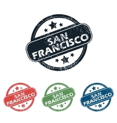 Round San Francisco stamp set vector image