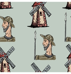 Seamless background with don quixote vector