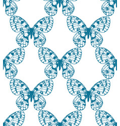 Seamless pattern of blue hand drawn butterfly vector