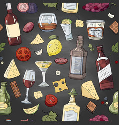 seamless pattern with alcohol and drinks on black vector image