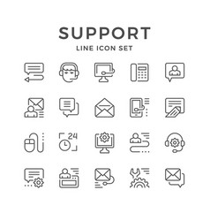 Set line icons of support vector