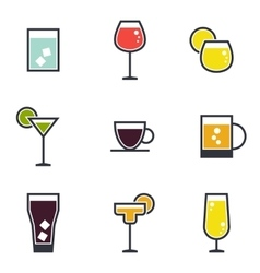 Set of beverage icons vector