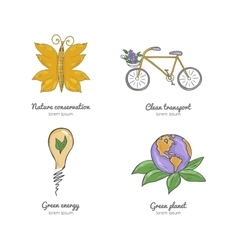 Set of icons on a theme global warming vector image vector image
