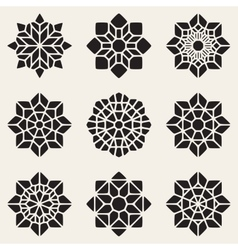 Set of Nine Black Decorative Mandala vector image