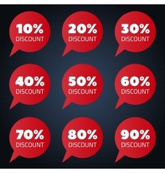 Set of red percent discount speech bubble vector