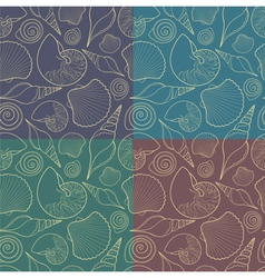 Set of seamless patterns with shells vector