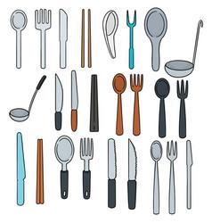 set of tableware vector image