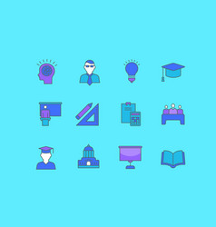 set simple line icons university vector image